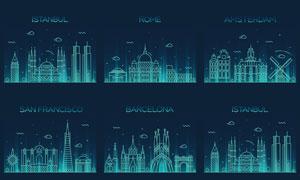 著名城市地标建筑剪影矢量素材V03