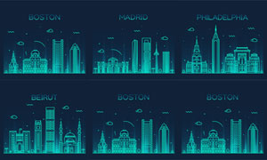 著名城市地标建筑剪影矢量素材V10