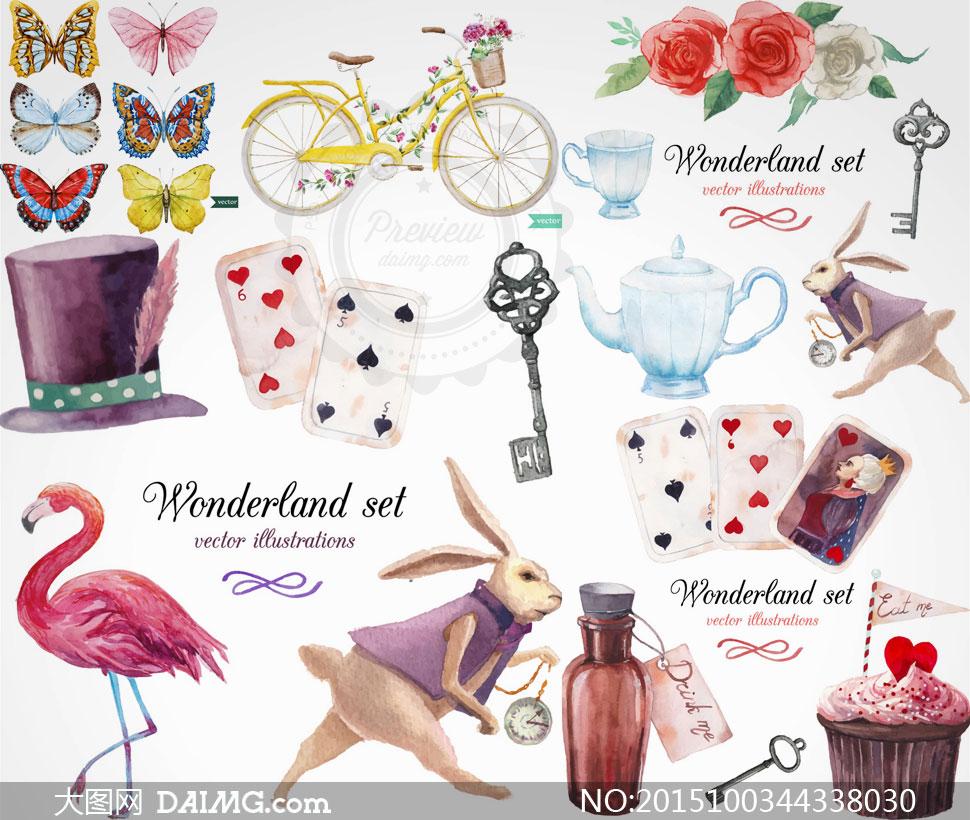 蝴蝶扑克牌与花朵自行车等矢量素材