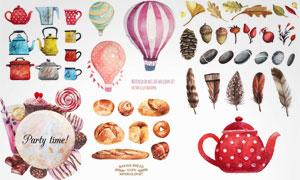 水彩风格蛋糕面包等物创意矢量素材