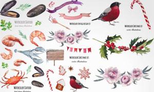 小鸟花朵与螃蟹龙虾等水彩矢量素材
