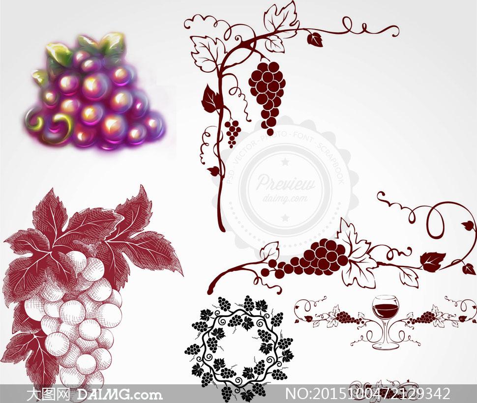 关 键 词: 矢量图矢量素材设计素材创意设计手绘素描葡萄藤蔓高脚杯