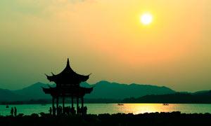 杭州西湖日落美景摄影图片