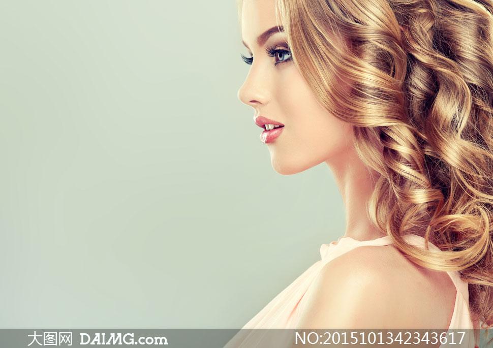 妆容美女人物模特侧面摄影高清图片