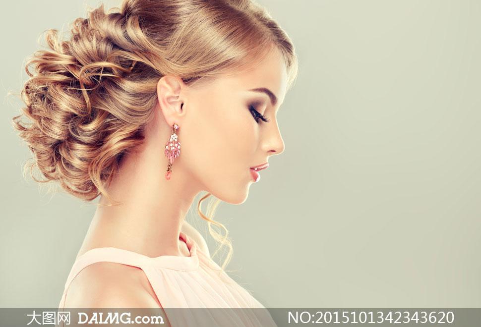 头发盘起来的美女人物摄影高清图片