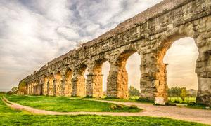 意大利罗马的渡槽公园摄影高清图片