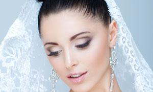 洁白婚纱盘头新娘美女摄影高清图片