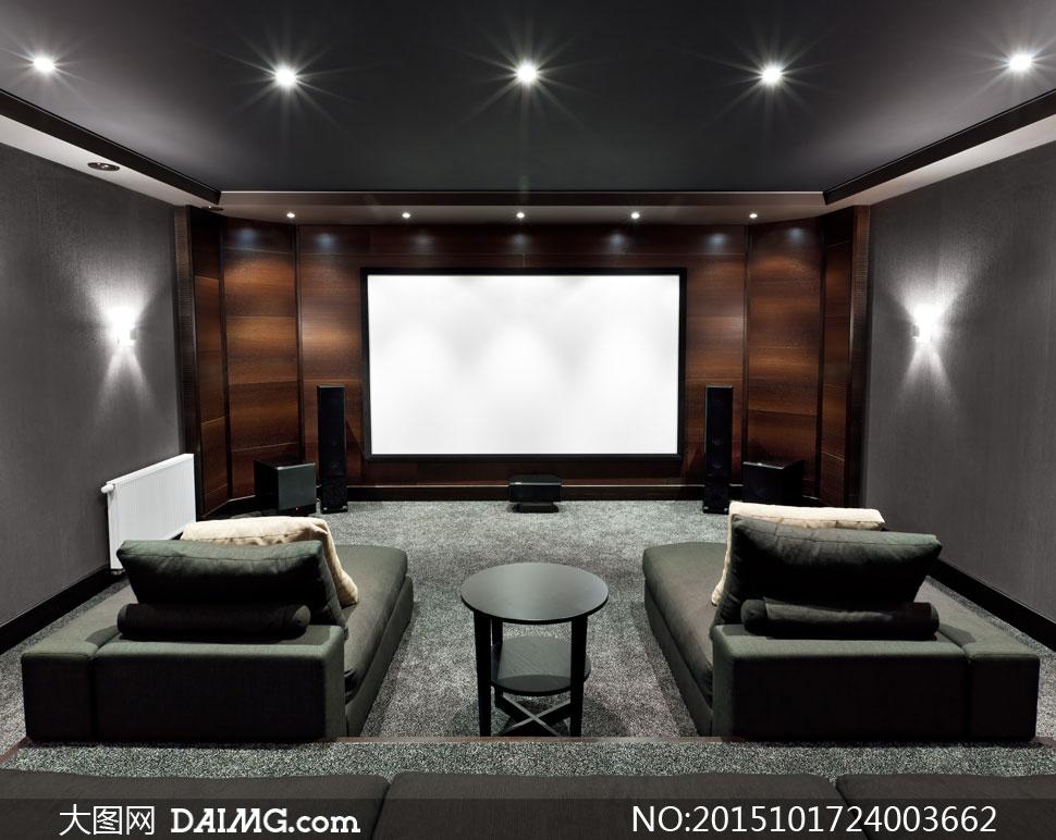 豪华尊贵家庭影院布置摄影高清图片
