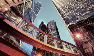 城市天桥与摩天大楼等摄影高清图片
