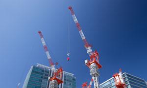 高层建筑大楼与塔吊等摄影高清图片