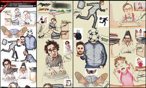創意的人像照片彩色鉛筆畫特效PS動作