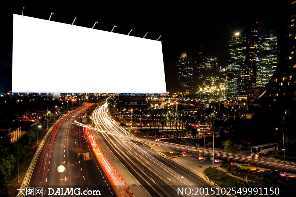 城市夜景与空白广告牌创意高清图片