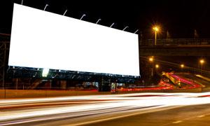 长曝光城市夜景与广告牌等高清图片