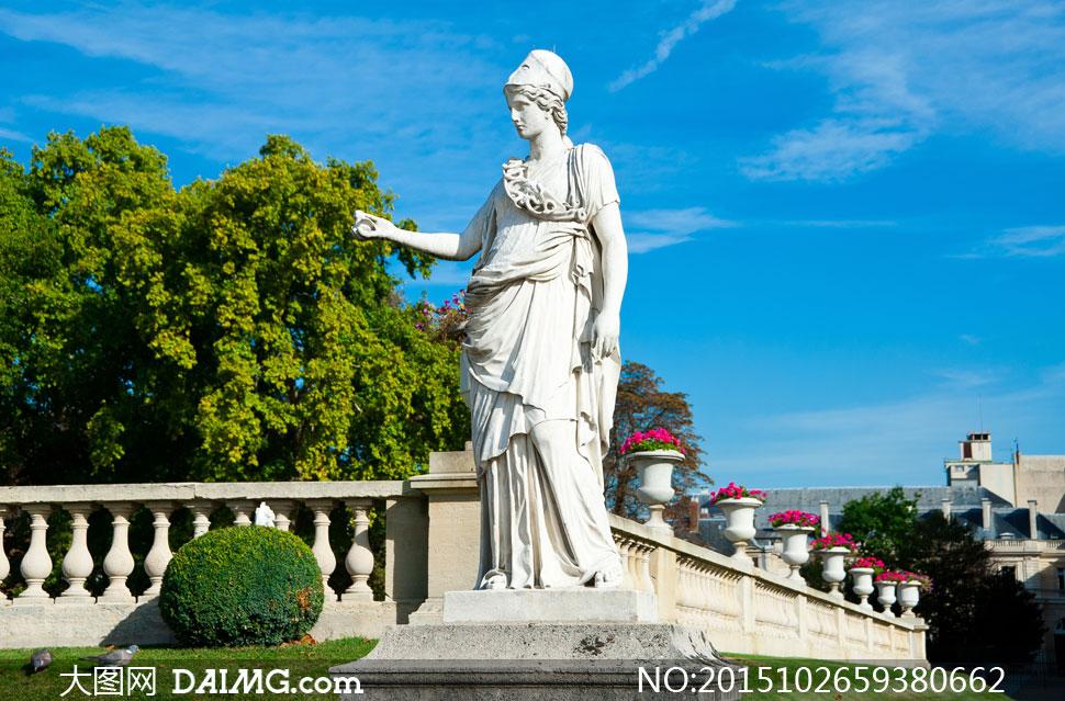 巴黎的卢森堡公园雕塑摄影高清图片