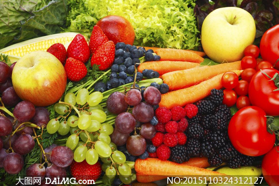 苹果草莓与西红柿胡萝卜等高清图片