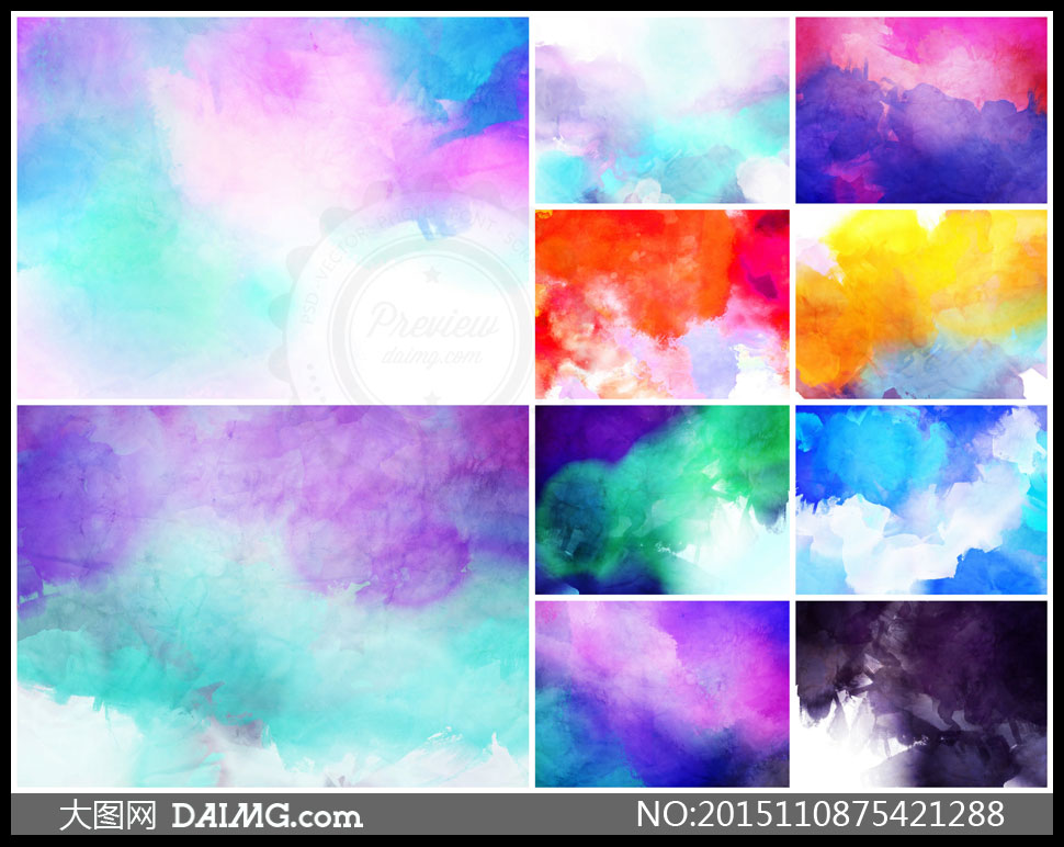 詞: 高清大圖圖片素材背景底紋水彩炫彩絢麗繽紛五彩多彩鮮艷藍色紫色