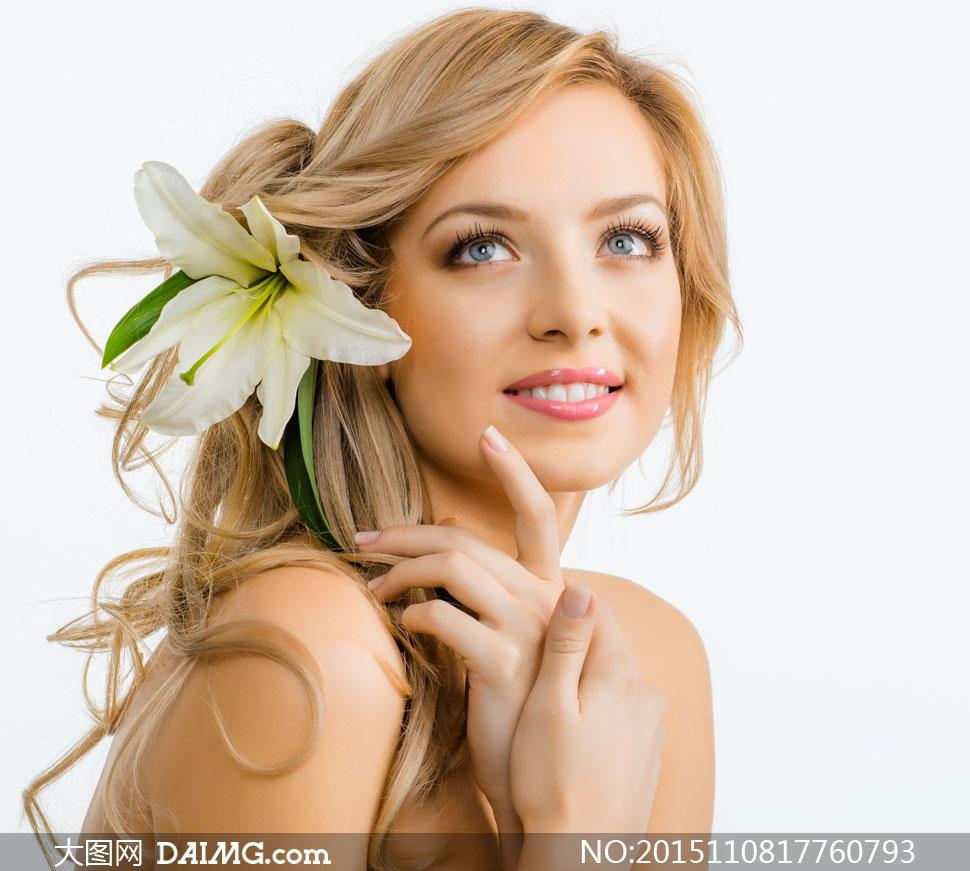 花饰美女人物模特特写摄影高清图片