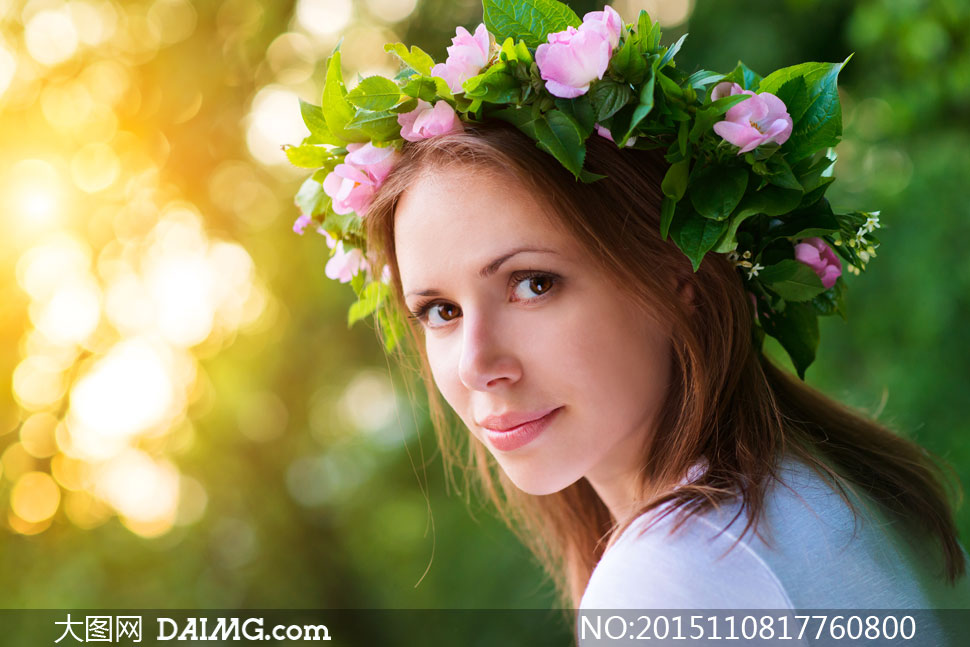 绿叶鲜花头饰美女人物摄影高清图片