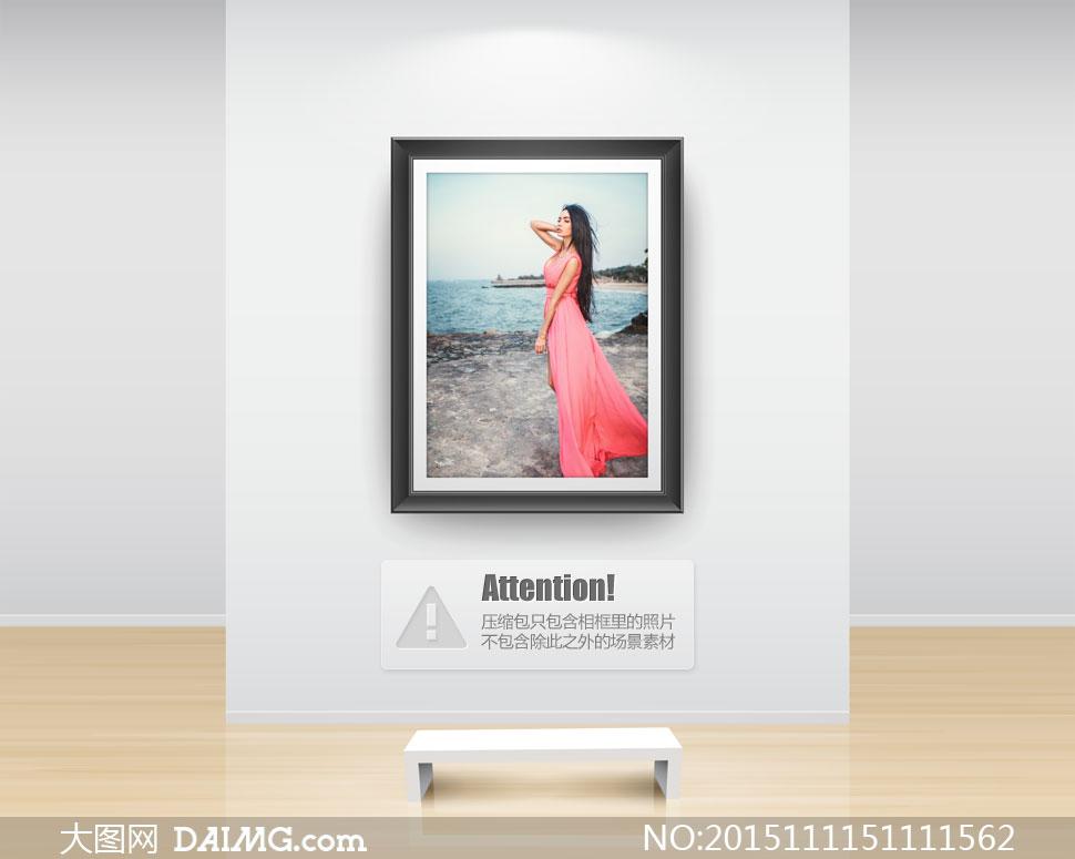 海边的披肩发美女人物摄影高清图片 大图网设