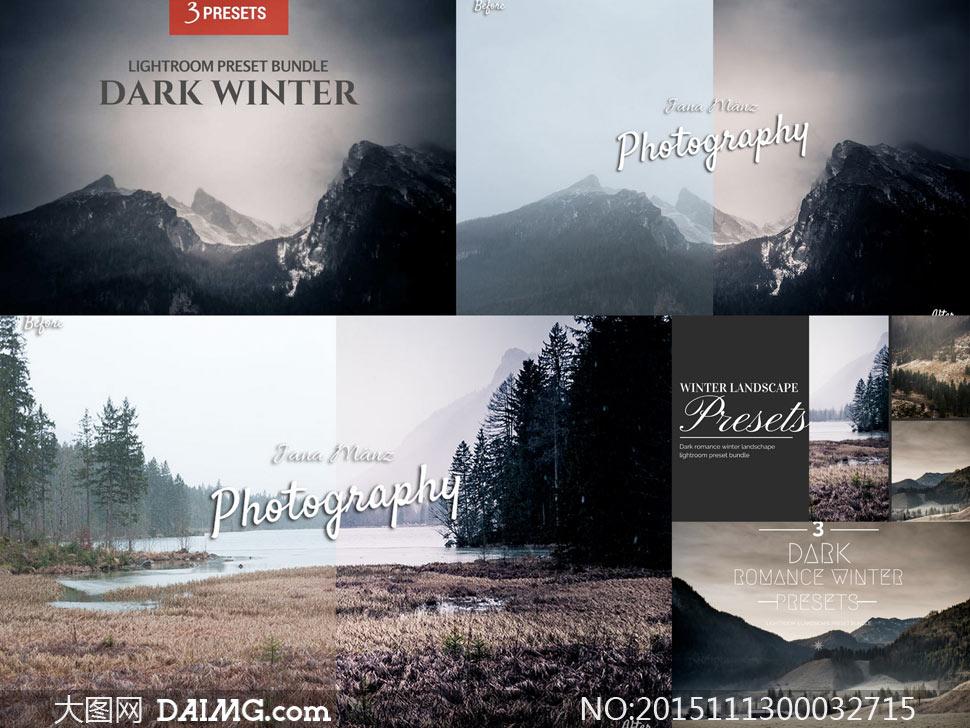 3款冬季暗黑冷色效果lr预设图片