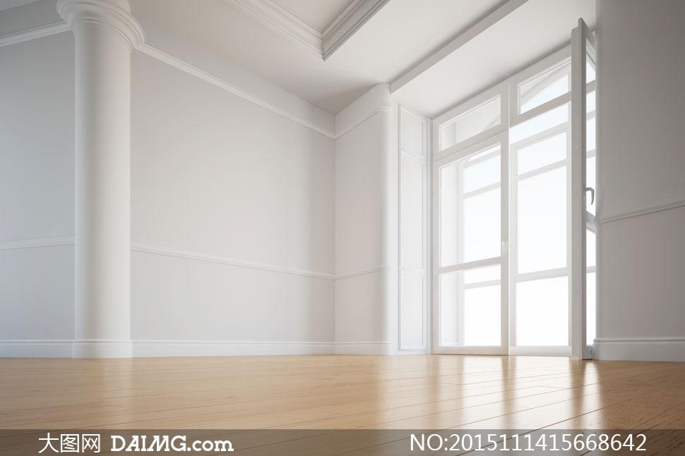 房门打开着的欧式房间摄影高清图片