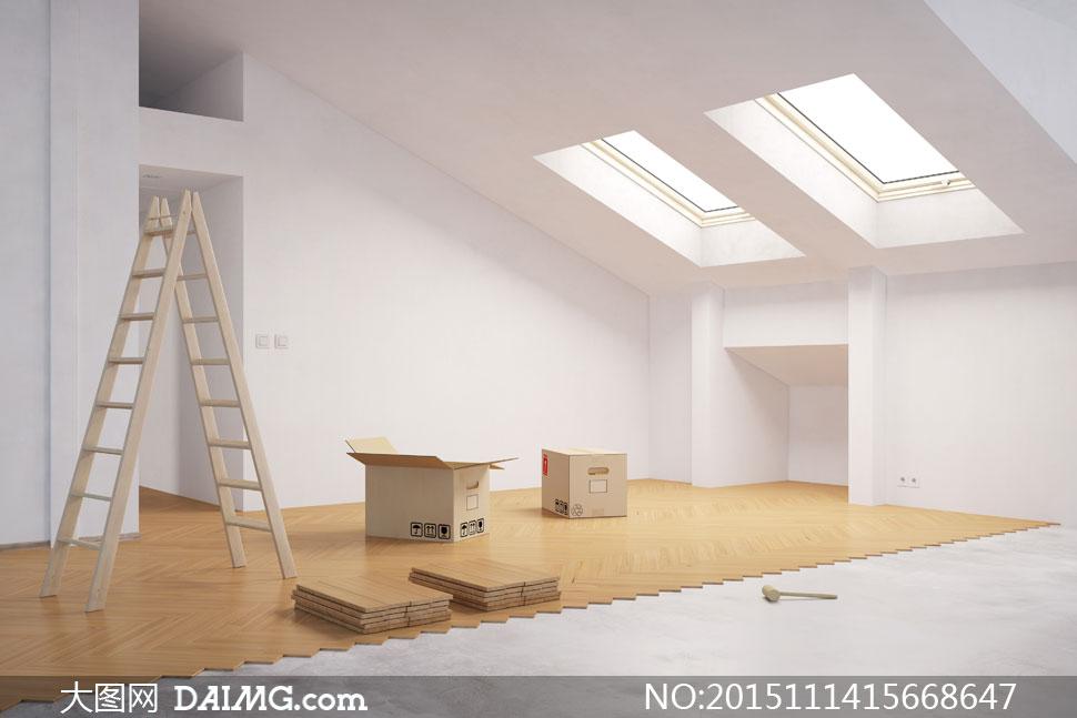 室内空间装饰家装渲染图家居效果图房间宽敞木地板天窗人字梯纸箱铺图片