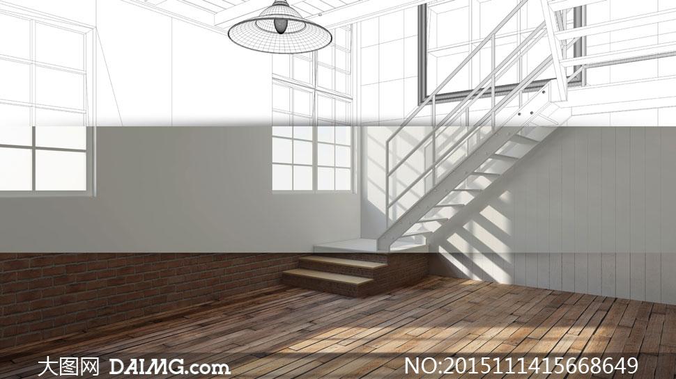 木地板窗户台阶楼梯吊灯灯具扶手草图轮廓图线描图