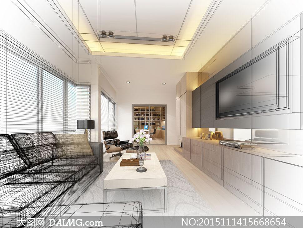 客廳沙發與電視機輪廓效果高清圖片