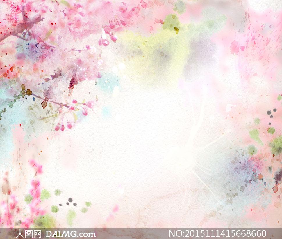 水彩泼墨喷溅效果背景创意高清图片