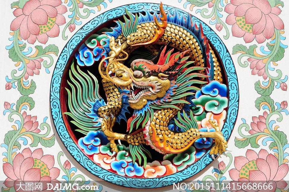 花朵图案与中国龙创意设计高清图片