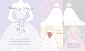 拿着花的婚纱新娘插画创意矢量素材