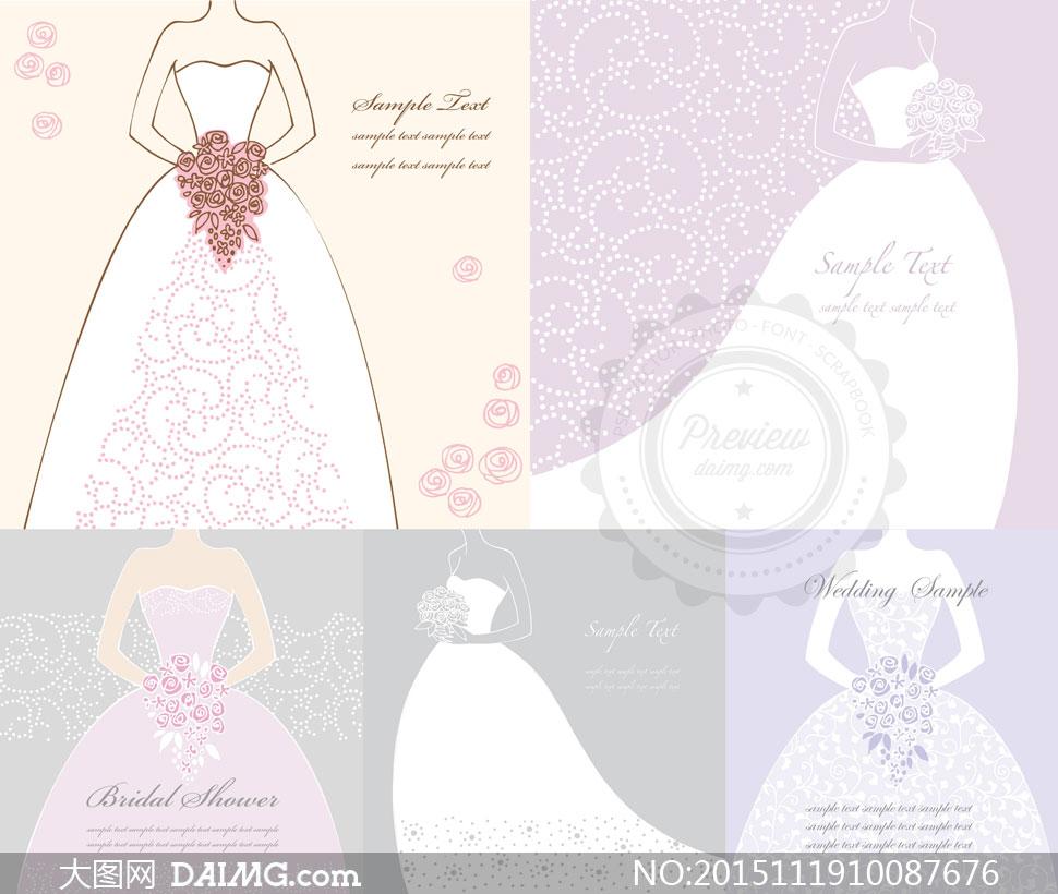 矢量图设计素材创意设计手绘插画鲜花玫瑰花花朵花束虚线剪影婚纱捧花