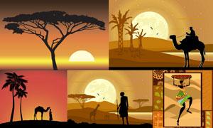 非洲草原上的树木与人物等矢量素材