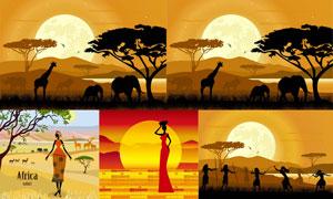 草原上的大象长颈鹿等剪影矢量素材
