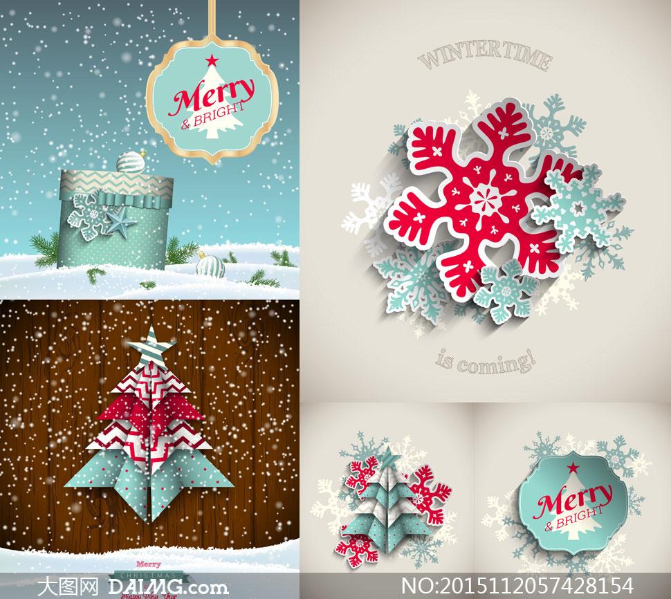 雪花与圣诞树礼物盒等圣诞矢量素材图片