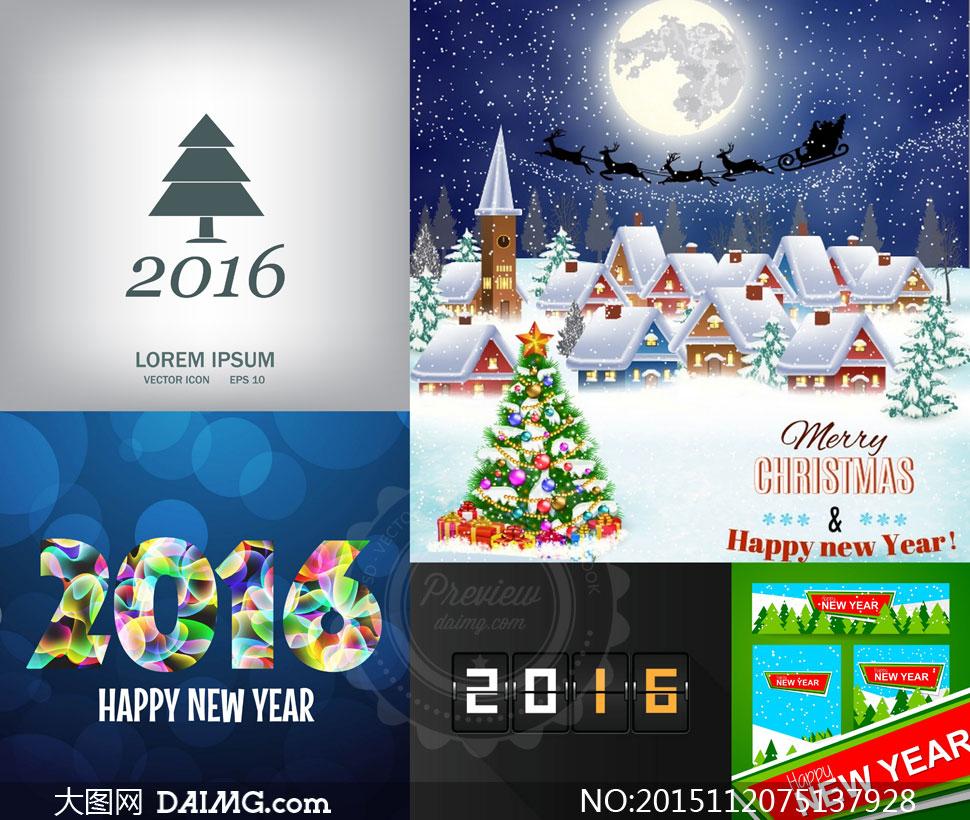 圣诞节与2016新年等主题矢量素材