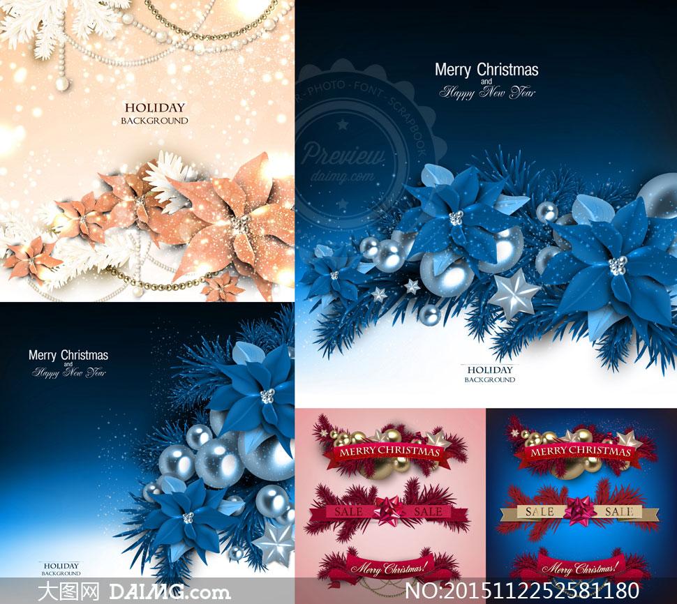 树枝花朵挂球等圣诞节主题矢量素材