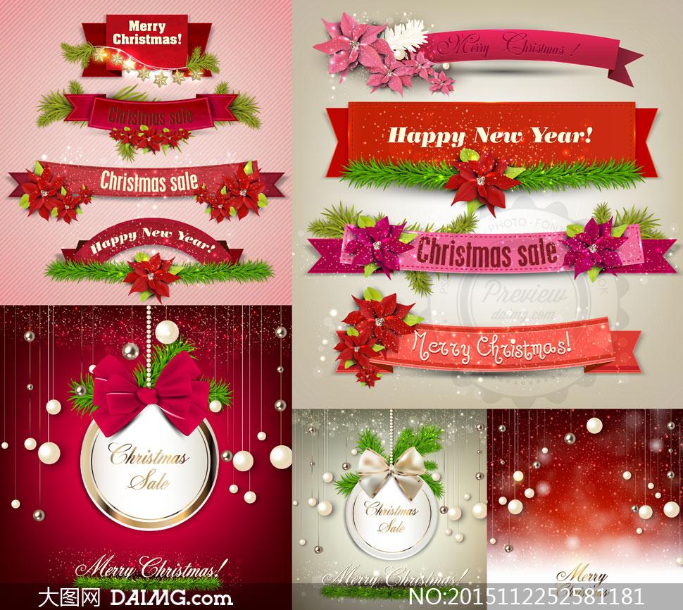 鲜花松枝与飘带等圣诞主题矢量素材