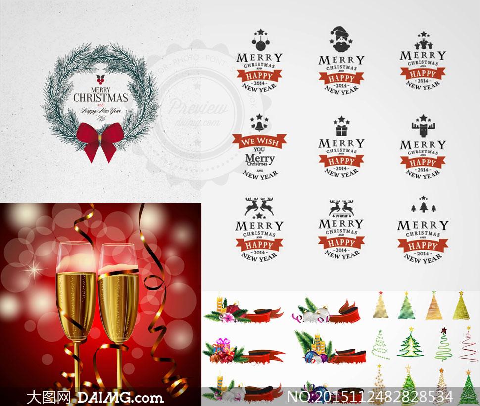 香槟酒与飘带等圣诞节主题矢量素材