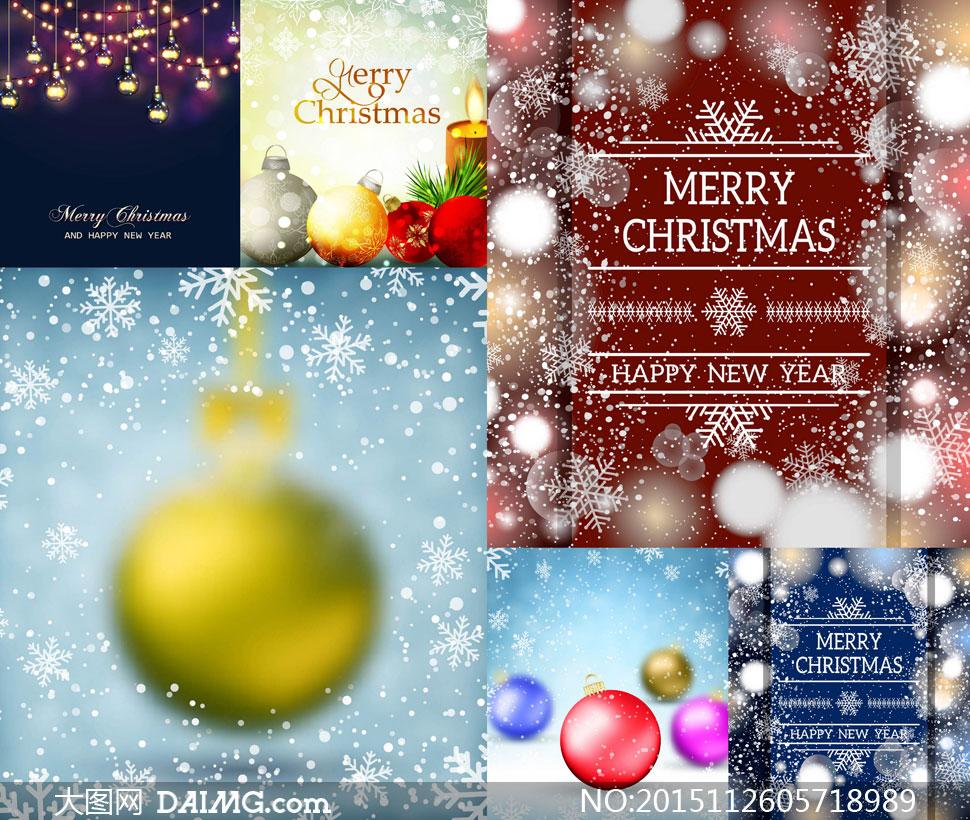 灯泡与圣诞挂球雪花等设计矢量素材