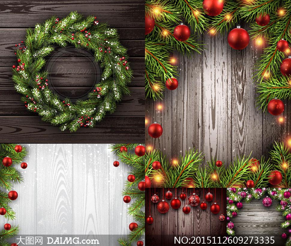 节日素材吊球挂球圣诞球逼真质感木纹木板纹理背景