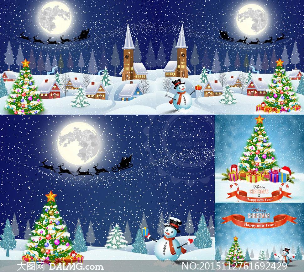 白雪下雪雪人树木松树圣诞树礼物盒圣诞帽飘带ribbon剪影房子房屋小屋