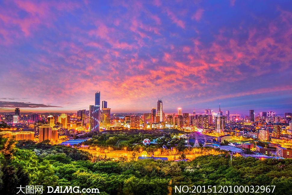 大连城市夜景美丽风光摄影图片