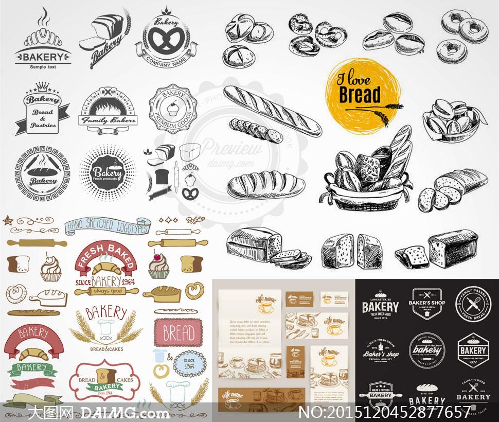 飘带ribbon面包食物食品小麦麦穗手绘素描黑白擀面杖蛋糕边框bakery