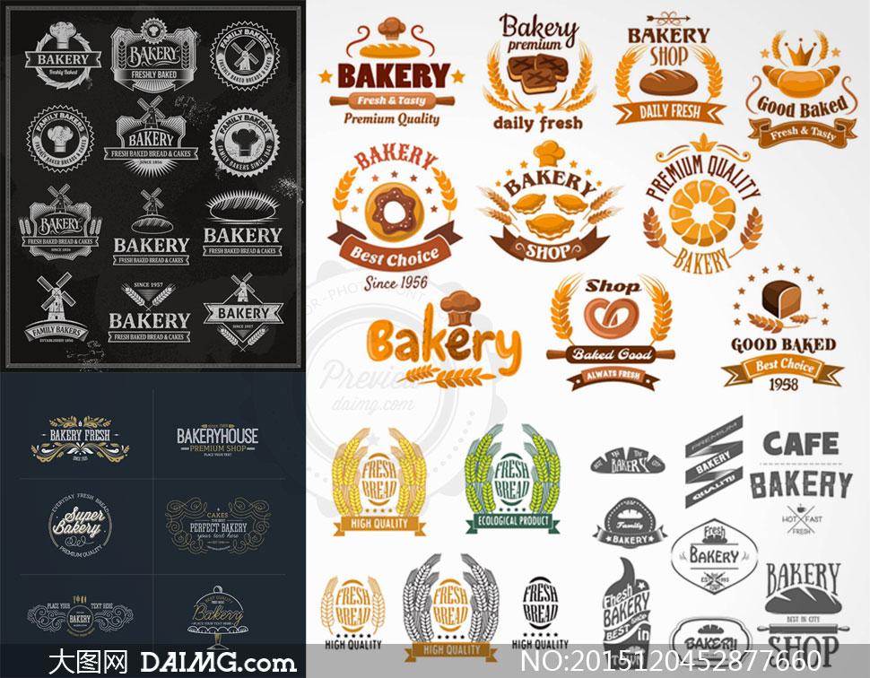 矢量图设计素材创意设计标签贴纸飘带ribbon面包食物食品黑白麦穗小麦