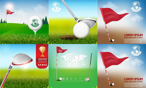 高尔夫运动主题创意设计矢量素材V2