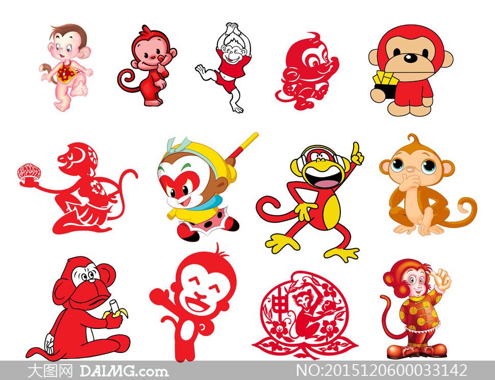 卡通卡通猴子猴子孙悟空剪纸猴子可爱猴子卡通