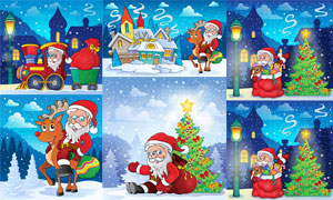 卡通风圣诞树与圣诞老人等矢量素材