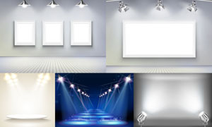不同场景下的聚光灯主题矢量素材V3