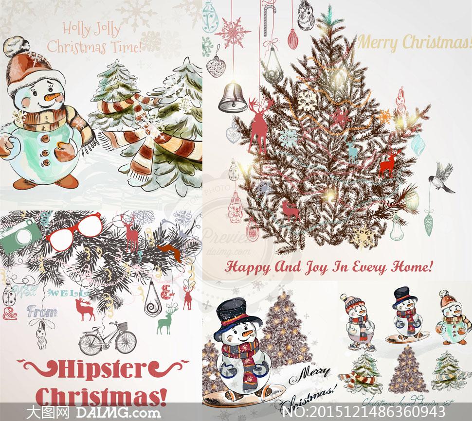 雪人圣诞树与铃铛等圣诞节矢量素材